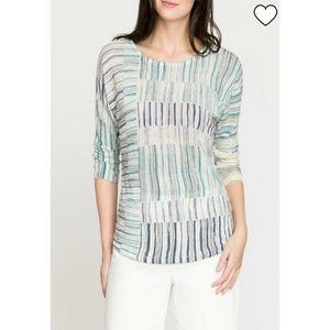 Nic+Zoe Linen Blend Sea wall Stiped Light Sweater